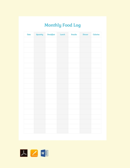 monthly food log