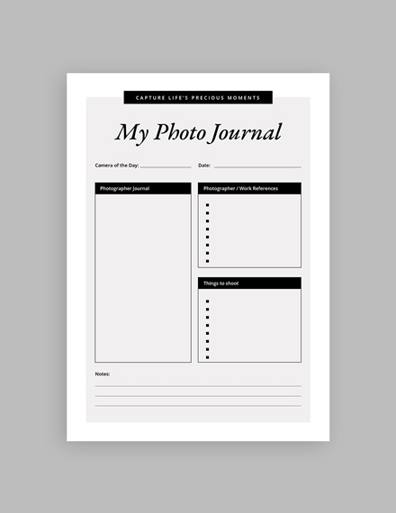 my photo journal template