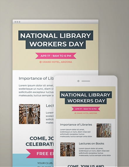 national library workers day email newsletter template