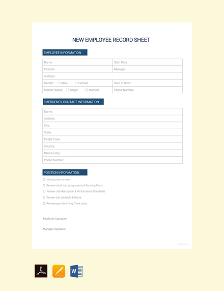 new employee record sheet design