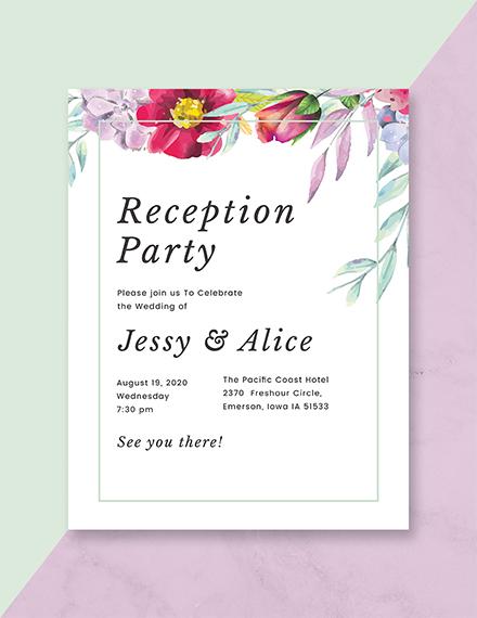 New Floral Wedding Reception Program Design