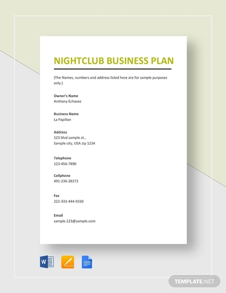 nightclub business plan example1
