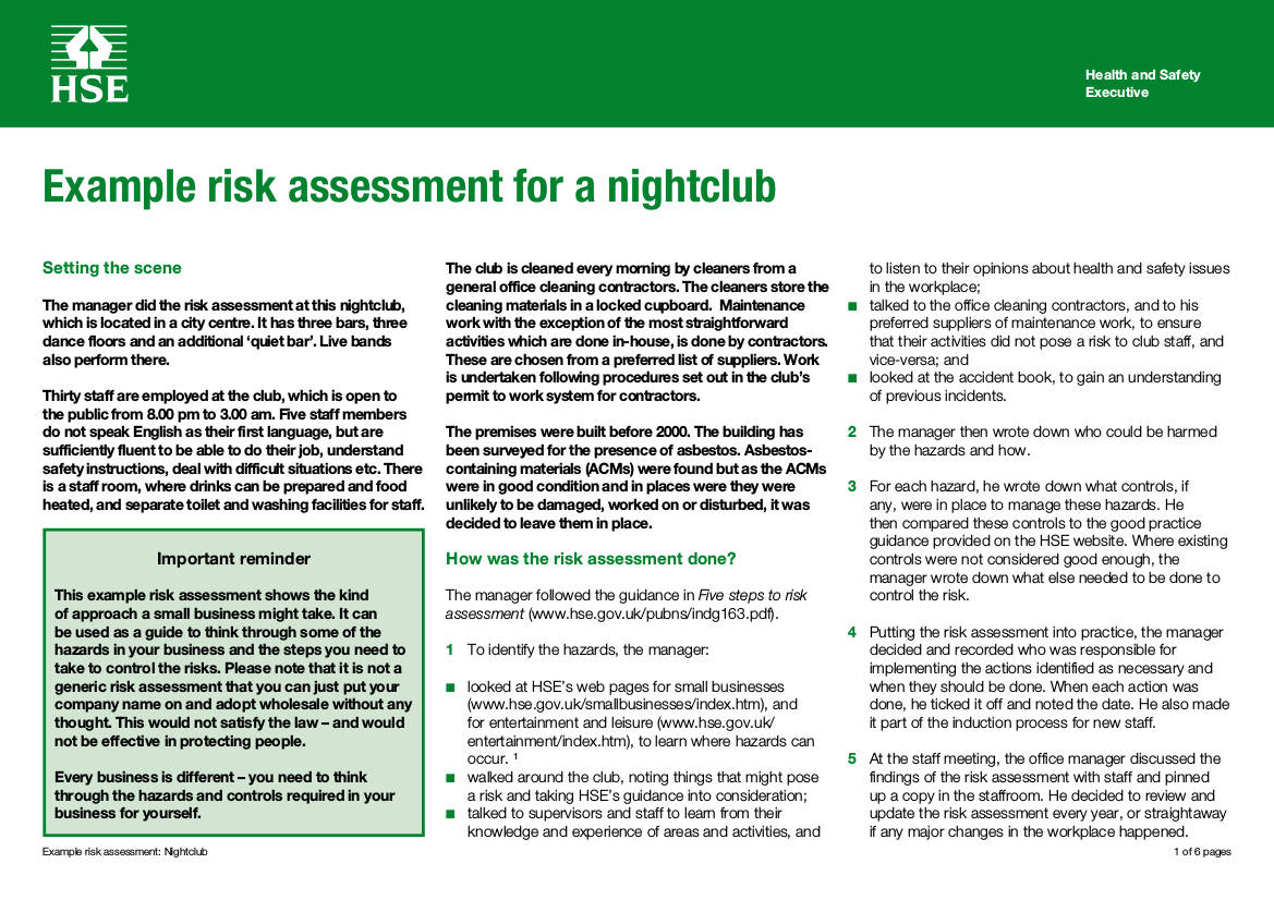nightclub business plan risk assessment example