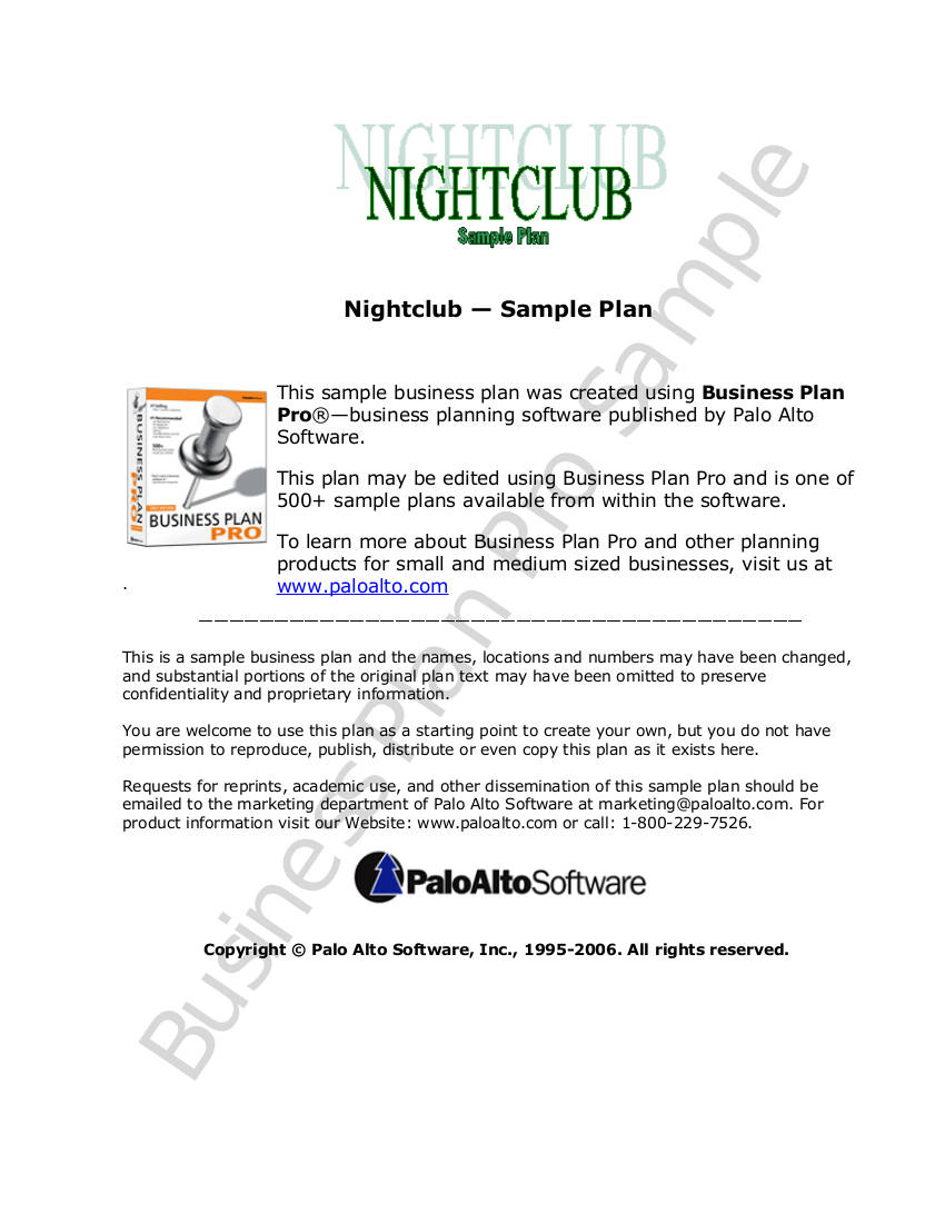 nightclub sample business plan example