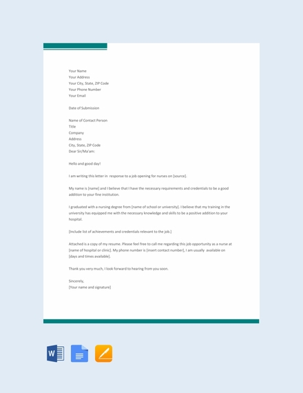 Nursing Application Letter Template