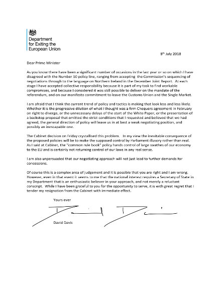 official secretary of state resignation letter