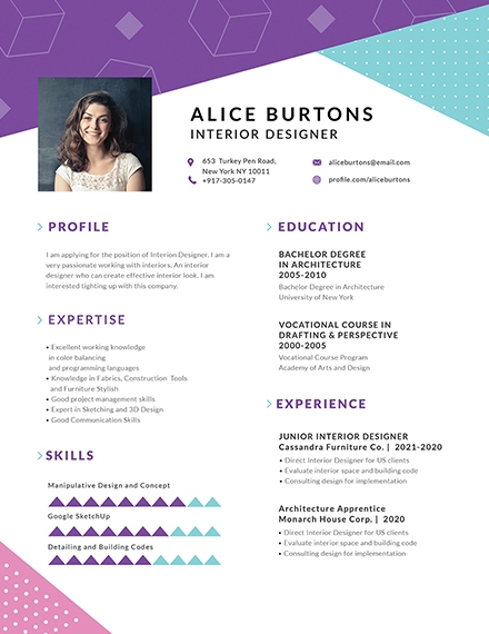 one page resume for experienced