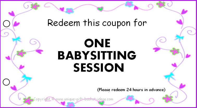 one night session babysitting coupon template example