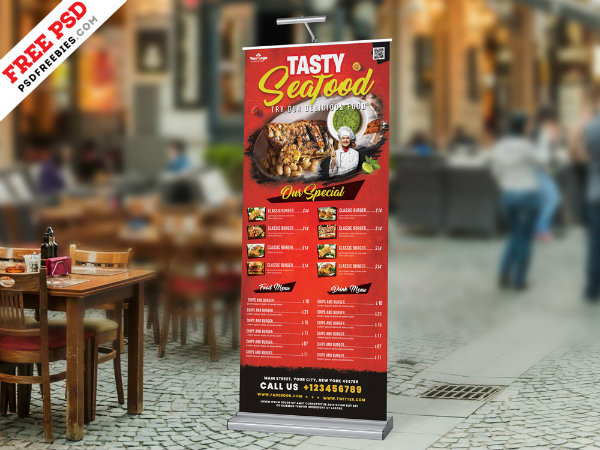 outdoor restaurant food menu roll up banner example