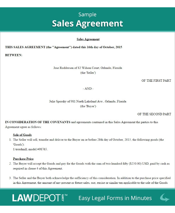 outline for sale by owner contract template example1