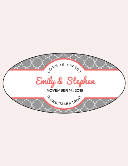 oval wedding label sample