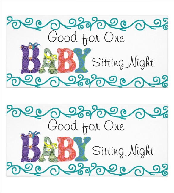 Overnight Babysitting Coupon Template Example
