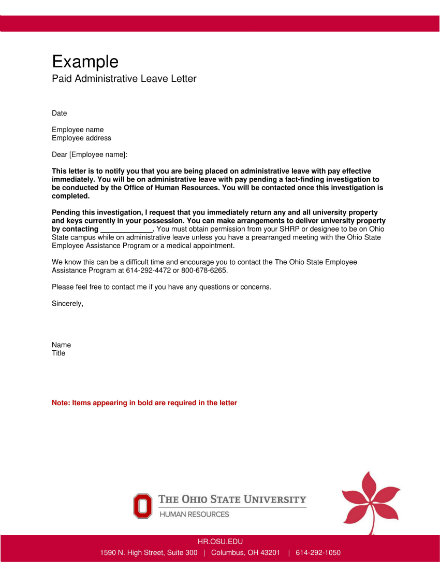 paid administrative leave letter