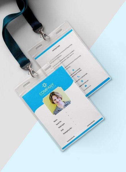 photo blank id card template mockup
