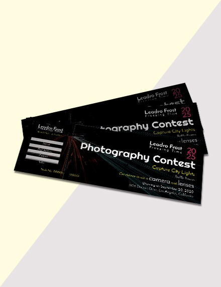 photography raffle ticket design