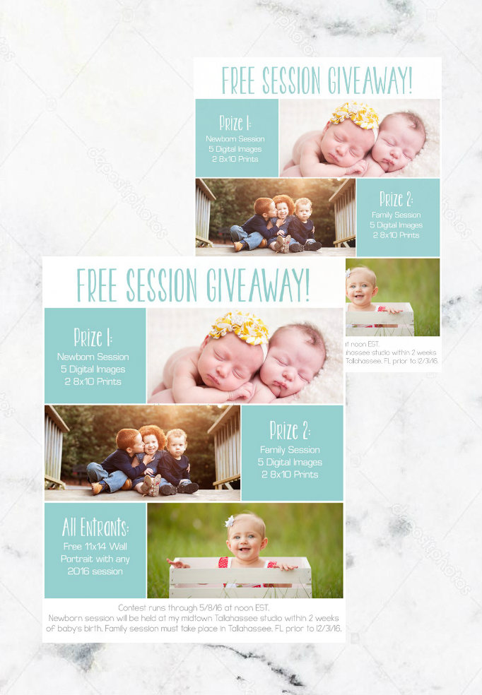 photography session giveaway flyer