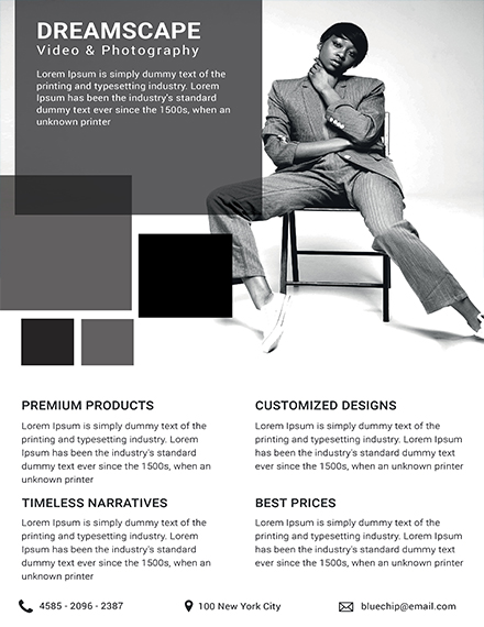 photography studio datasheet template