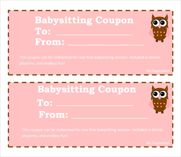 pink babysitting coupon template example