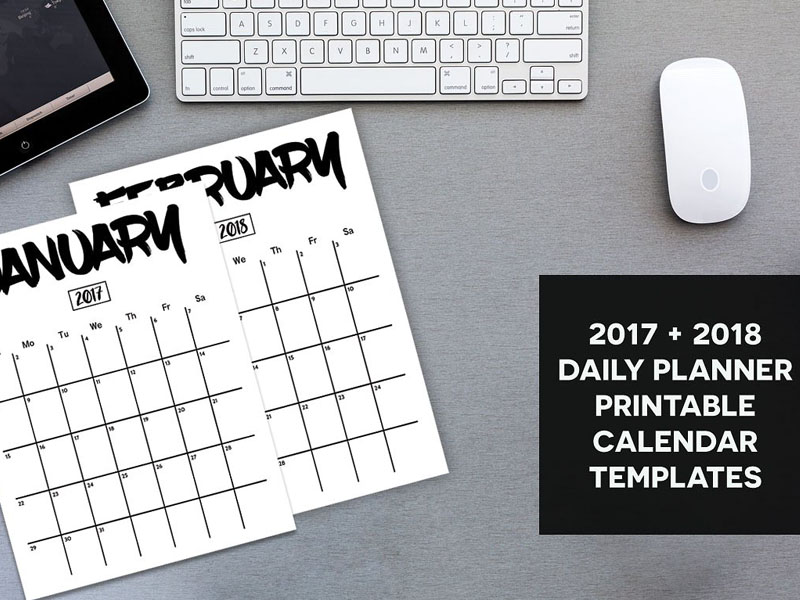 Planner Calendar 2017 & 2018 Example