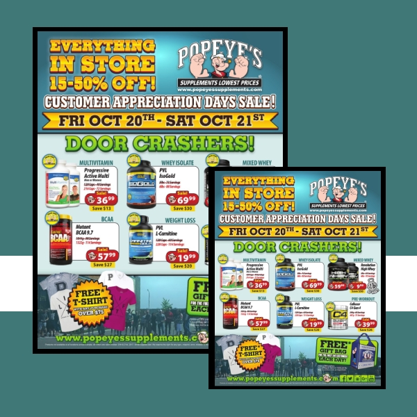 Popeye's Supplements Business Flyer Example