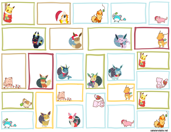 Printable Pokemon Holiday Gift Tag Designs