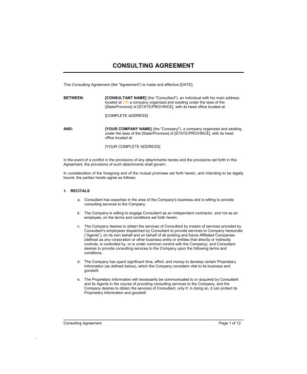 printable training consultant contract example
