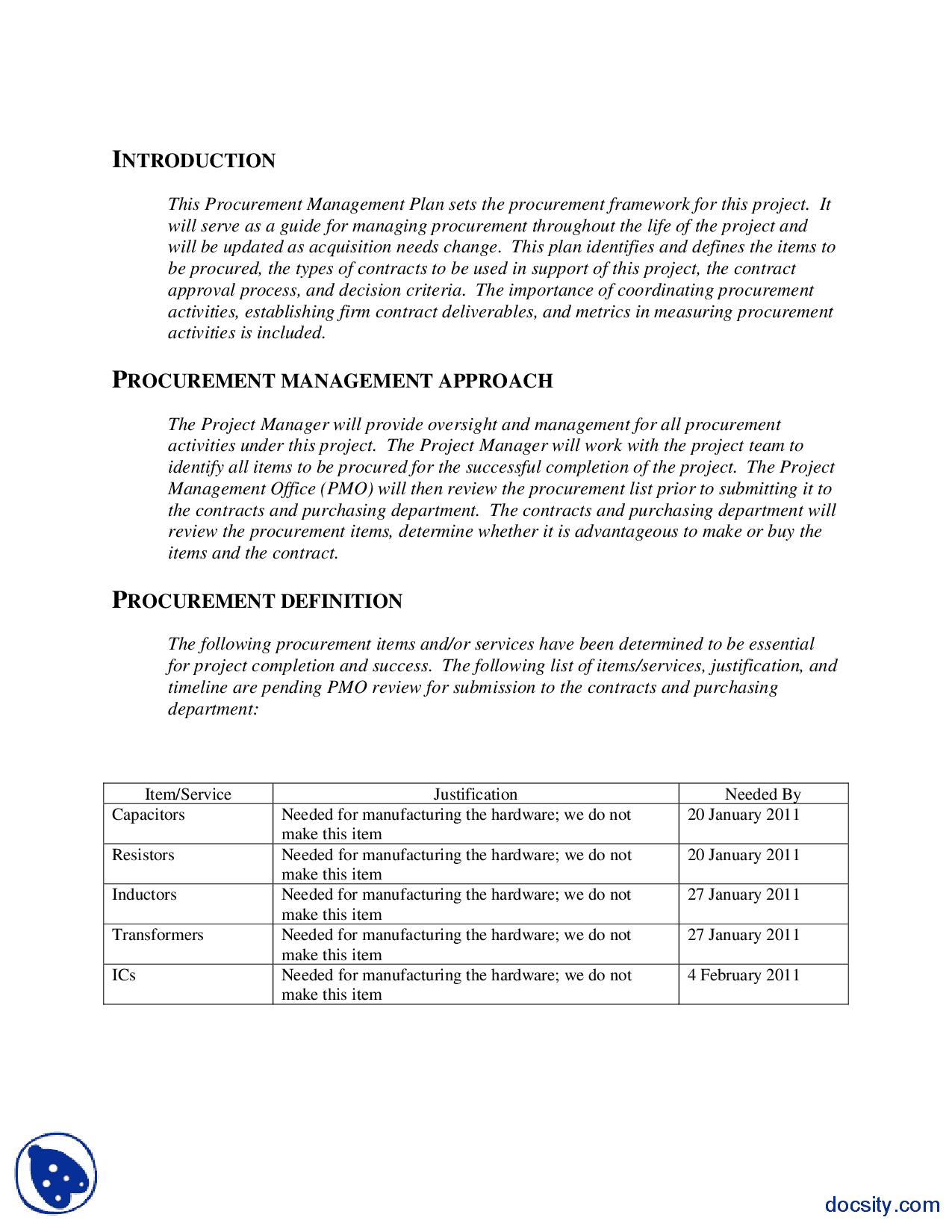 10  procurement management plan templates