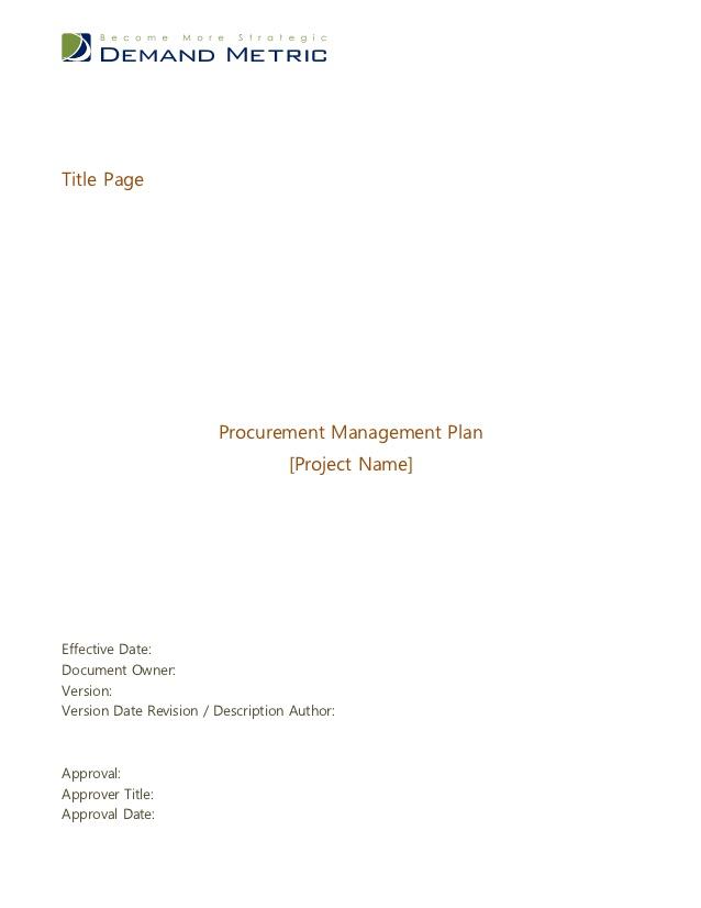 procurement management plan cover page example