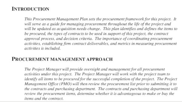 procurement management plan document example