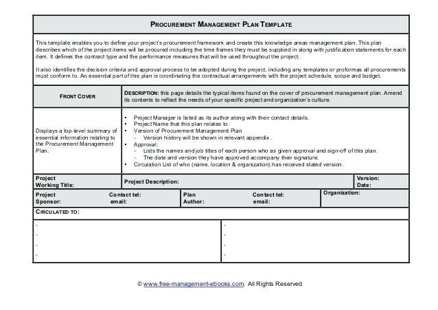 procurement management plan template sample