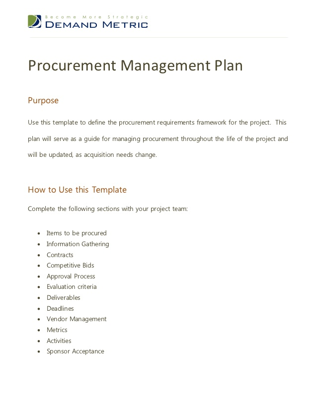 Plan Template In Pdf | 9 Procurement Management Plan Templates Pdf