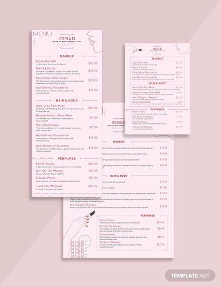 product menu template