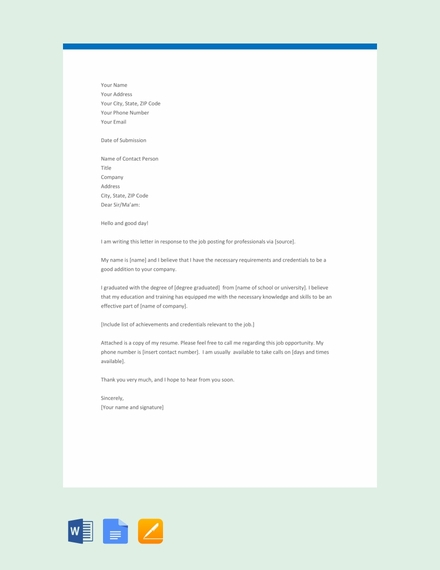 Professional Application Letter