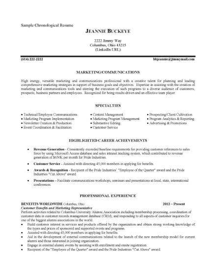 professional chronological resume