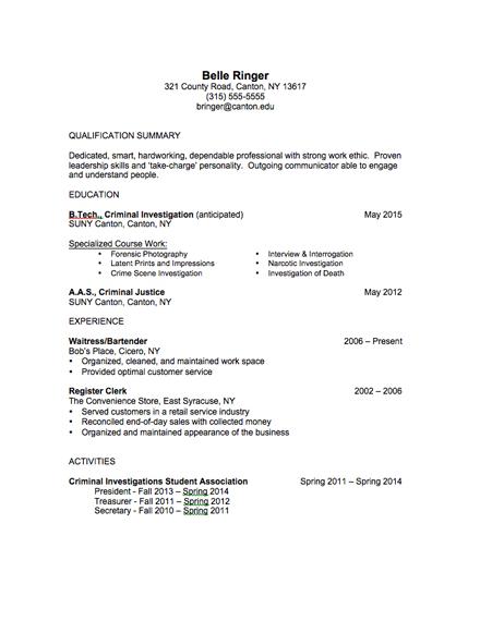 professional resume for criminal investigation graduate