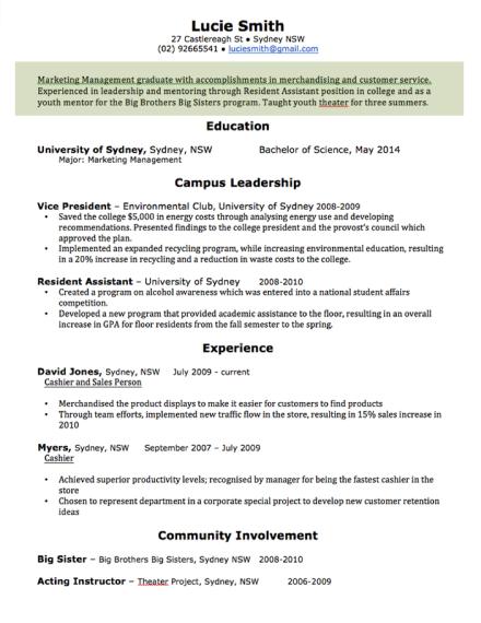 professional resume for marketing management