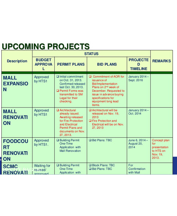 project plan for home renovation table example1