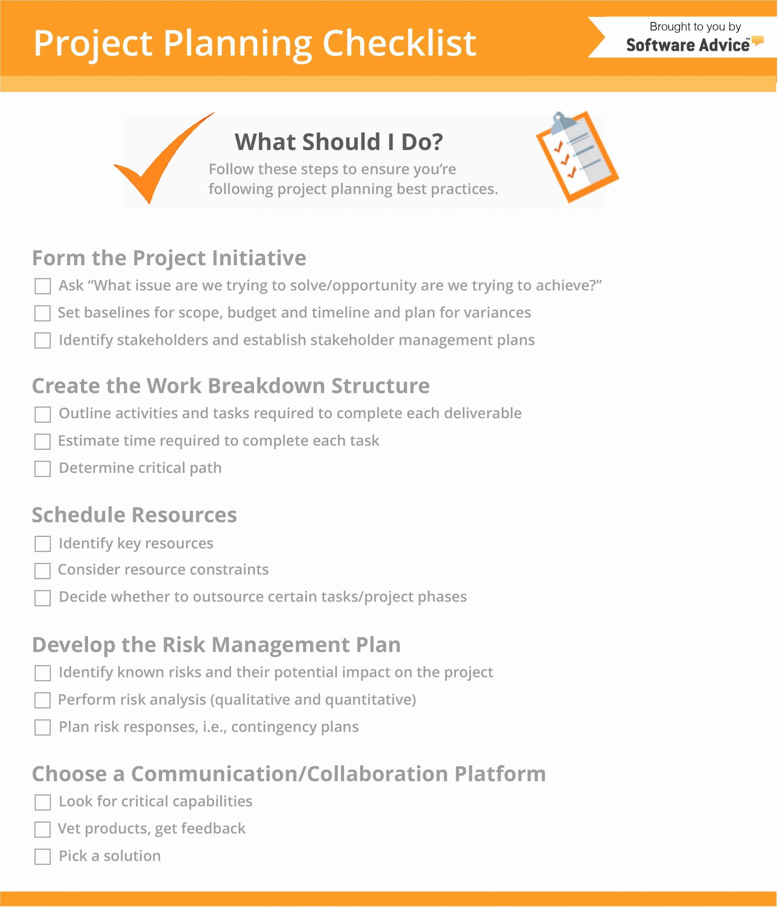 project planning management checklist