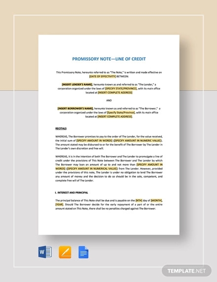 promissory note line of credit template1