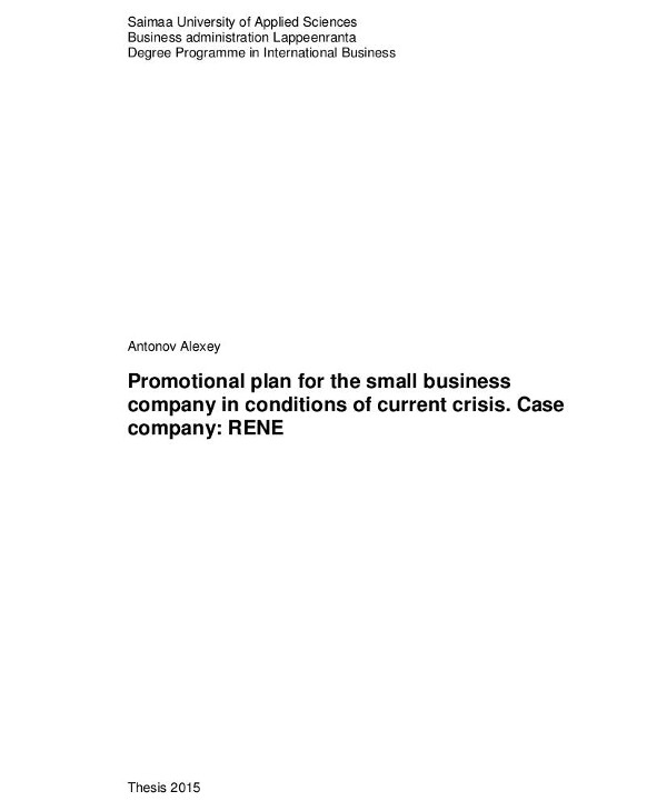 promotional marketing plan for small businesses under crisis conditions1