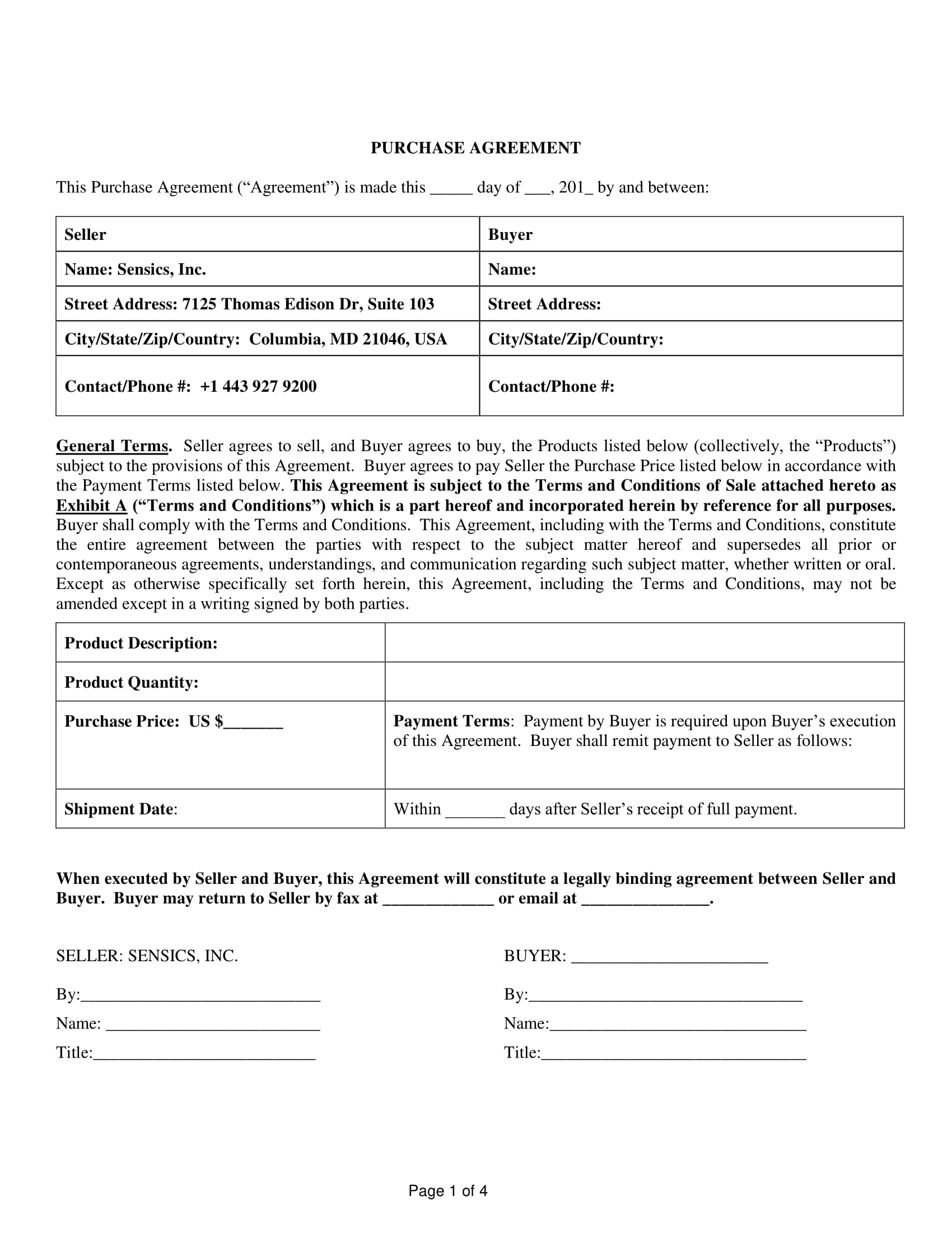 purchase agreement terms