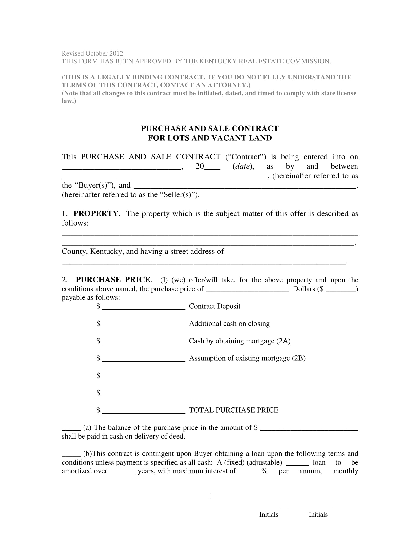 purchase and sale of contract of land