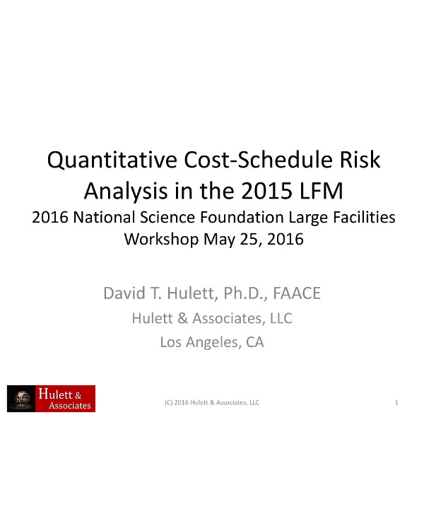 quantitative cost schedule risk analysis example