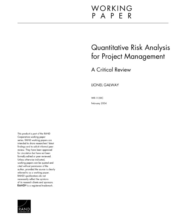 quantitative risk analysis for project management example
