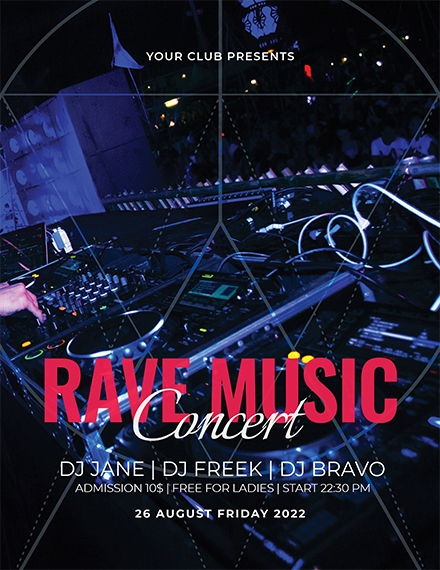 rave music concert flyer template1