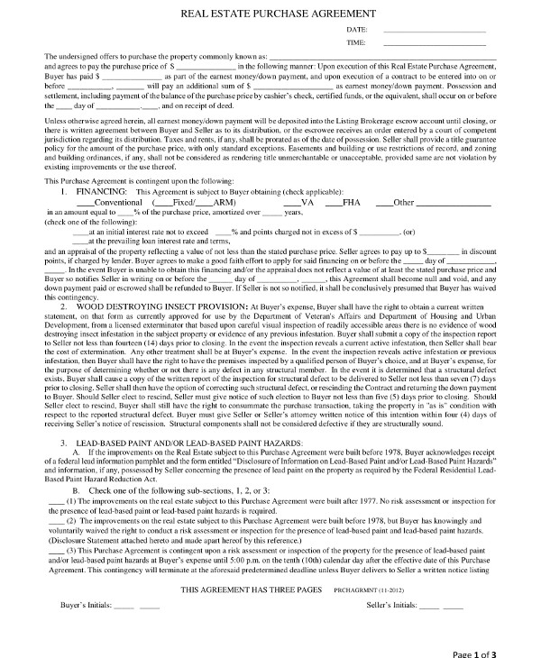 real estate purchase contract agreement example1