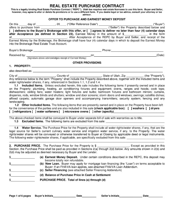 real estate purchase contract example1