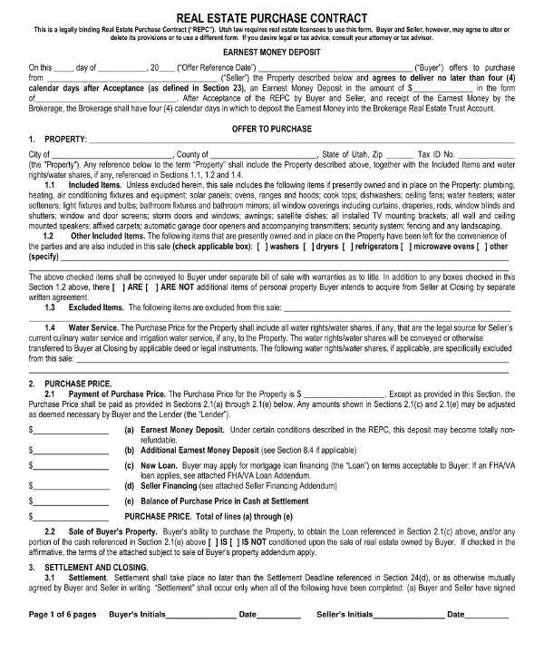 real estate purchase contract template1