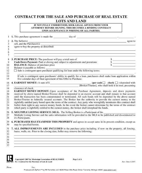 real estate sale and purchase contract example1