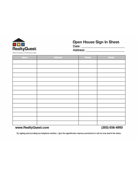 real estate sign in sheet example